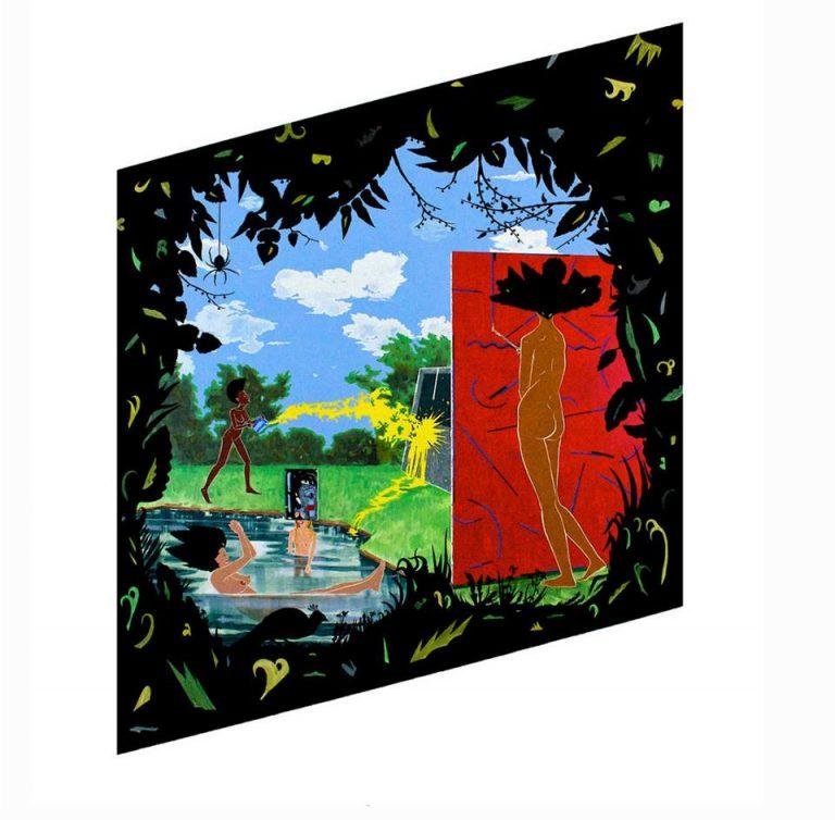 RHOMBUS, 2010 acrylic, paper, and velvet flocking on wood panel 75 x 58 x 2 in.