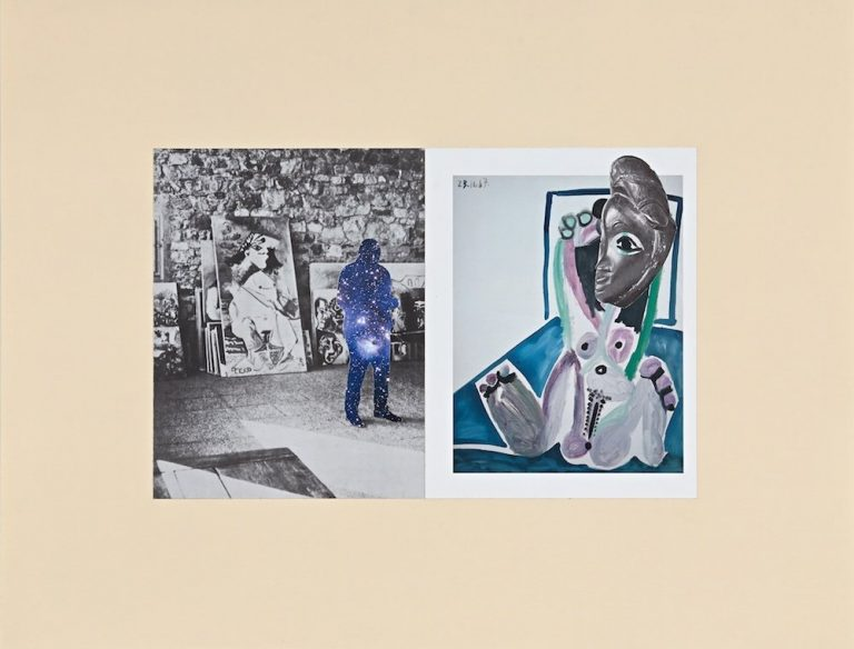 RE: HISTORY-AFFINITIES (PICASSO, DAN), 2015 paper (periodicals) collage on paper 18 x 23 in. collage