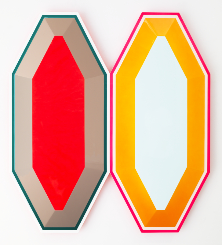 Beverly Fishman, Untitled (double pain), 2017, Urethane paint on wood, 38.5 x 38 x 2 inches, Courtesy of the artist and Miles McEnery Gallery, NYC