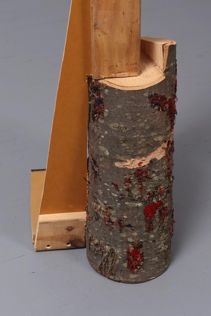 Elana Herzog, Untitled (SC 2017-1) 2017 Section of wooden shipping crate, cut log, metal staples, textile 48.5 x 18 x 11.5